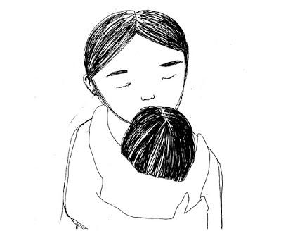 Illustration, Mutter mit Kind, Umarmung
