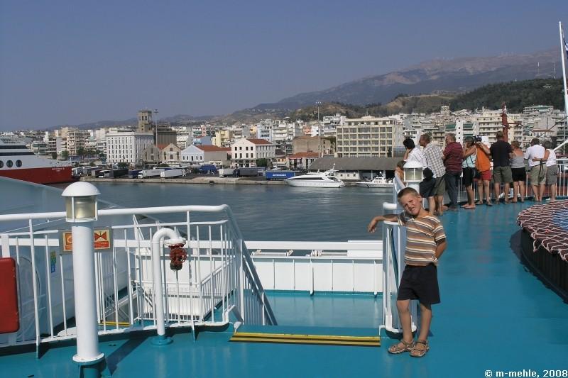 Griechenlandfähre auf dem Rückweg, Patras, Griechenland