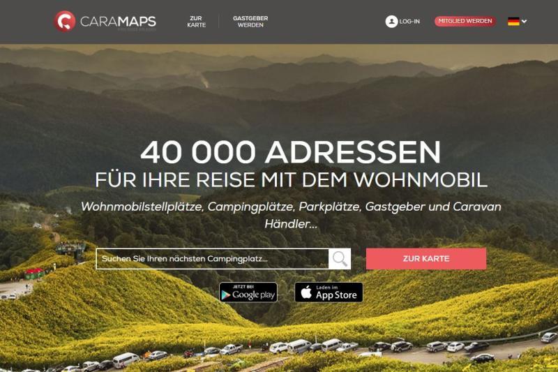 Bild der Startseite Hompage Stellplatz-App CaraMaps
