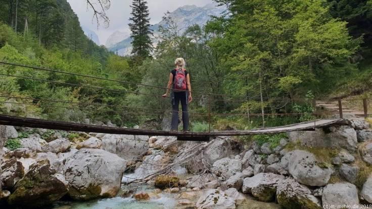 Hängebrücke im Socatal, Slowenien