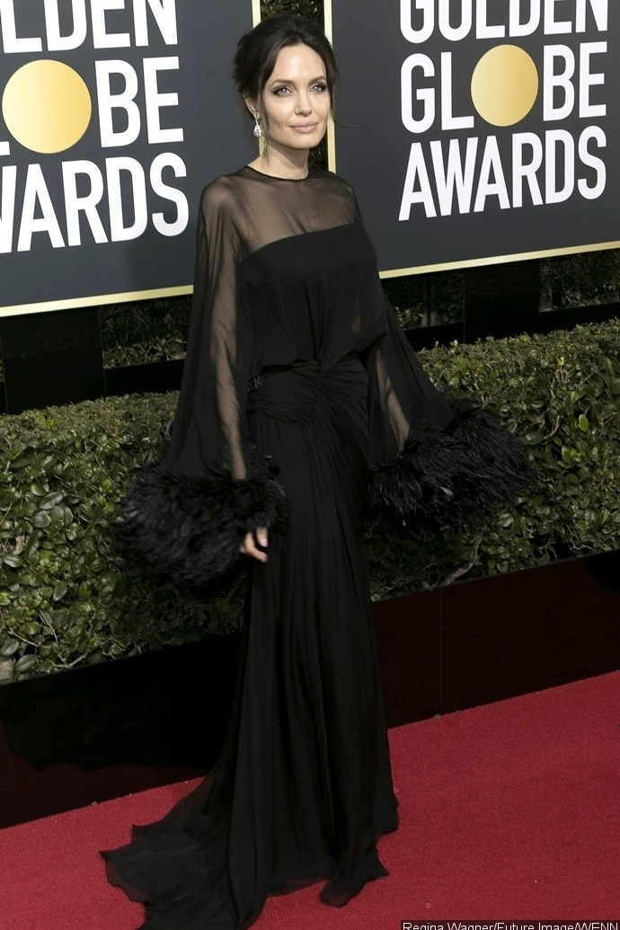Image result for angelina jolie red carpet golden globes 2018