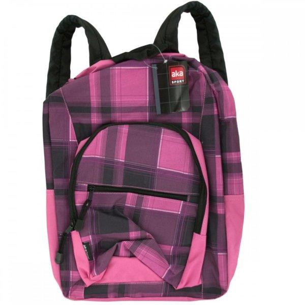 Kl18875 Aka Sport Pink Plaid Pocket Backpack Ot057
