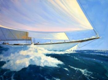 """White on Blue,"" oil by Brad Betts"