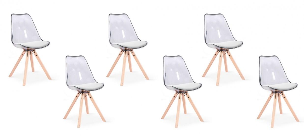 lot de 6 chaises transparentes polycarbonate helsinki