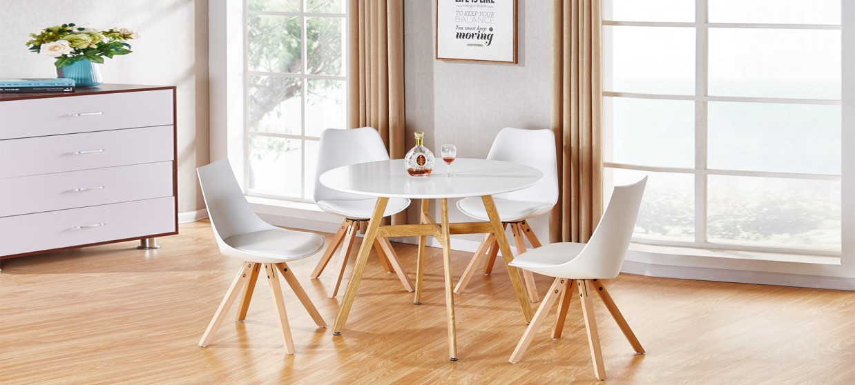 table a manger scandinave ronde blanche 100cm umbria