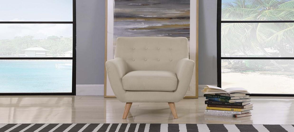 fauteuil scandinave en tissu taupe nils