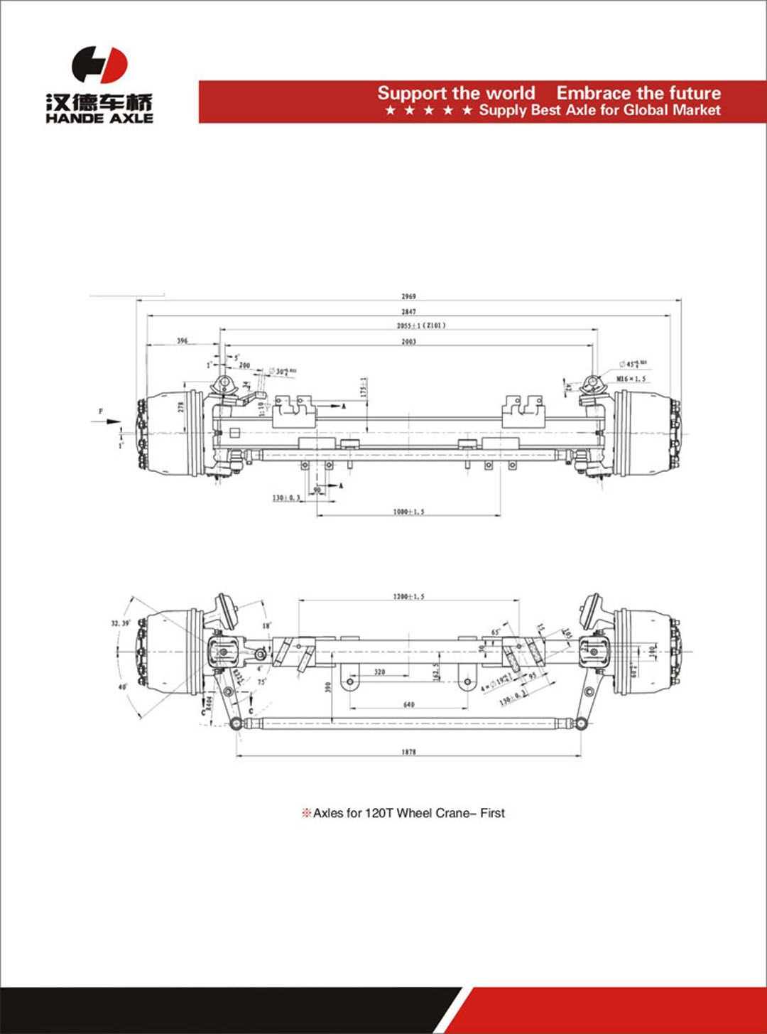 hight resolution of axles for 120t wheel crane first