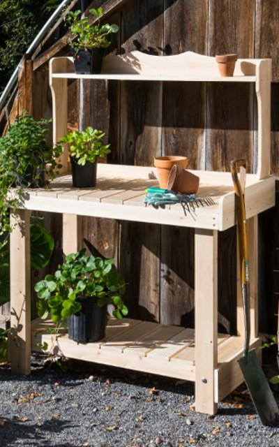 table de jardinage table de bricolage table de cuisine exterieur cedre rondins