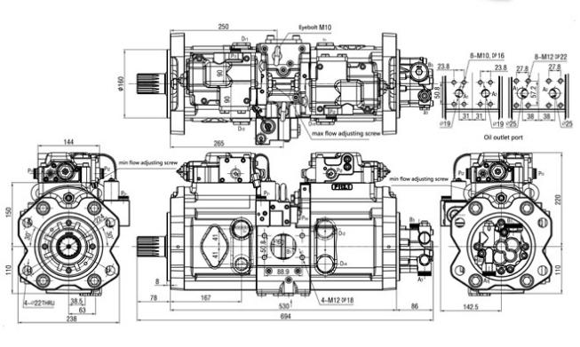 Pompe hydraulique K5V140 LC10V00005F4 de piston de