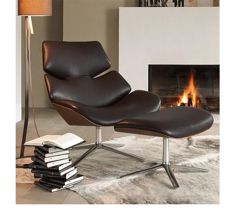 chaise longue scandinave de crevette de conception chaise en cuir de crevette de cor avec