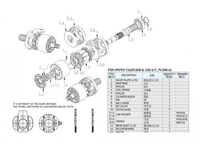 Excavator Pc300-6 / Pc300-7 Komatsu Hydraulic Pump Parts