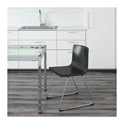 bernhard chair review dining room with arms chair, chrome plated, kavat mjuk dark brown - ikea