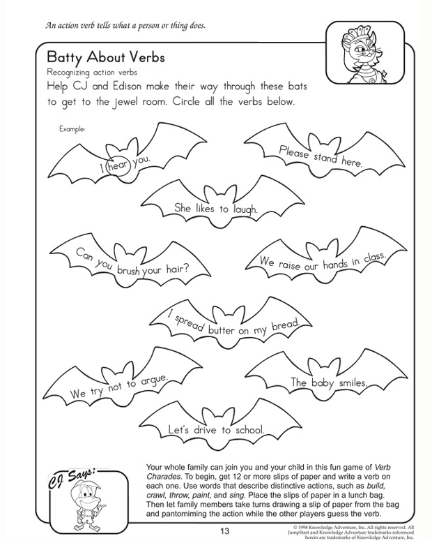Batty About Verbs View Free English Worksheet For Second