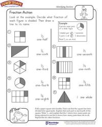 Fraction Action  2nd Grade Math Worksheets  JumpStart