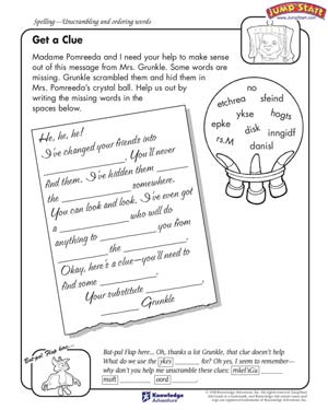 Get a Clue – 4th Grade Language Arts Worksheets