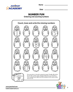 Number Fun – Math Worksheet on Ordering & Counting