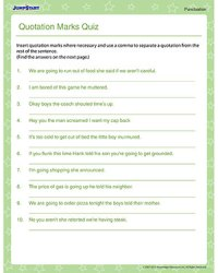 Quotation Marks Quiz  Fun Punctuation Worksheets - JumpStart