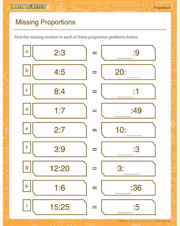 Missing Proportion - Printable proportion worksheet for all grades