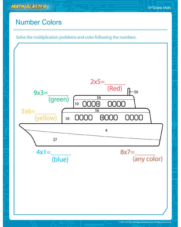 Number Colors - Free Math Worksheet for 3rd Grade