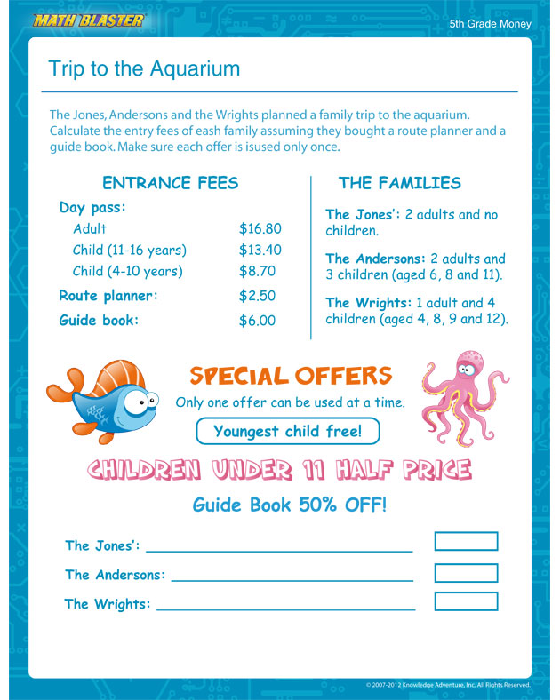 Trip to the Aquarium - Free Math Worksheet for 5th Grade