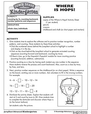 Where Is Hops?  Free Kindergarten Math Activities And Lesson Plans  Math Blaster