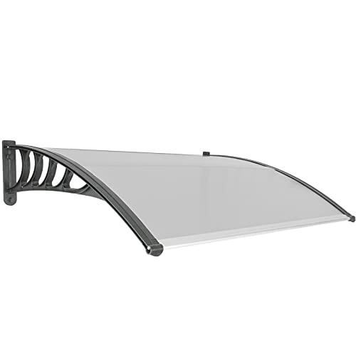 PrimeMatik - Tejadillo de protección 120x90 cm Gris Oscuro. Marquesina para Puertas y Ventanas con Soporte Negro