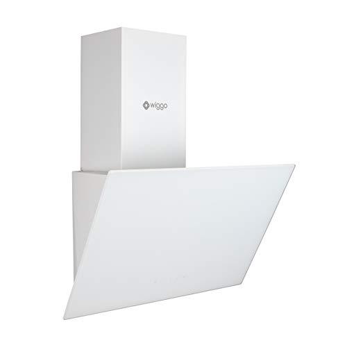Wiggo, cappa aspirante da 50 cm, senza testa, 300 m/h, con display touch a LED, 3 livelli, con filtro antigrasso e 2 filtri al carbonio, cappa aspirante con vetro frontale bianco