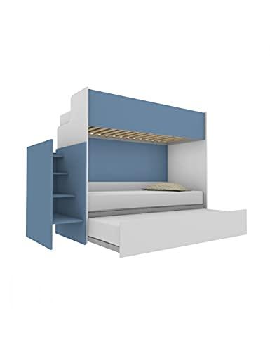 Woody Letto a castello funzionale di design, con terzo letto estraibile e sollevabile 80x190. Scala contenitiva inclusa.Bianco e Avio Marina