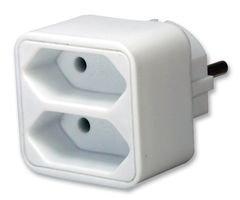 Brennenstuhl Mehrfachsteckdose, Steckdosenadapter 2-fach Eurosteckdose mit Kindersicherung, Farbe: weiß