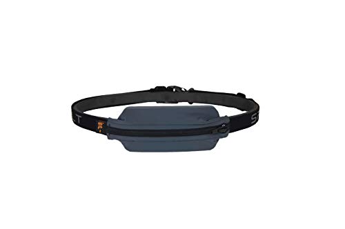 SPIbelt Diabetic Belt: Adult - No-Bounce, Discreet Belt with Hole for Insulin Pump or Other Medical Devices! (Anthracite with Black Zipper)