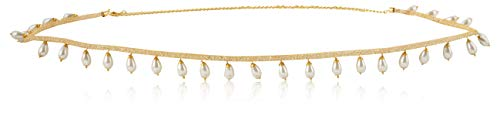 WomenSky Gold Polished Peral Kamarband for Women (Golden and White)