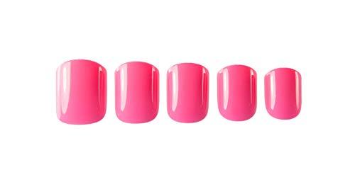 Pink Yourself Happy Press On Nails | Minute Mani | Short, Square Nails | Hot Pink Nails | Summer Nails | Glossy Nails | Fake Nails | Reusable Nails | Artificial Nails | Beach Vacation Nails
