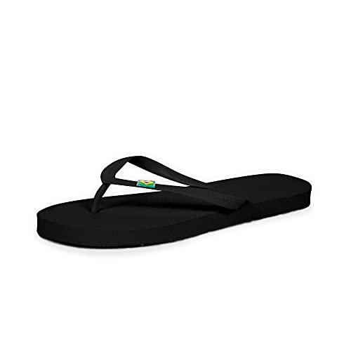 CoboFamily Chanclas Mujer, Zapatos de Playa y Piscina, Flip Flop Verano Otoño Invierno, Chancletas Adulto Multicolor, Suela de Goma Antideslizante (Negro, 38)