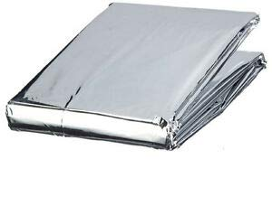 ASA Techmed Emergency Mylar Thermal Blanket, Foil Rescue Space Blanket - Silver - Designed for NASA, Outdoors, Survival, Hiking, Natural Disasters, First Aid, Marathons (1)
