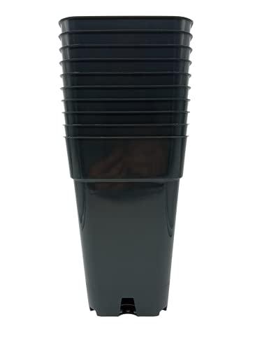 MURGIPLAST Macetas de plástico cuadradas para Plantas y Flores, maceteros de Cultivo, contenedores de plantación de Interior, 2,5 litros, 13x13x21 cm, 10 Unidades