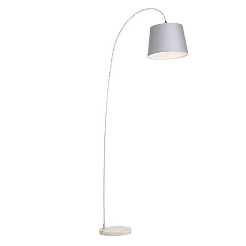 QAZQA Moderno Lámpara de arco moderna pantalla gris - BEND Piedra/cemento/Acero Alargada Adecuado para LED Max. 1 x 60 Watt