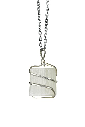 Raw Selenite Crystal Healing Necklace - for Crown Chakra |...