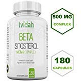High Potency Beta-Sitosterol Plant Sterols, IvidaH Supplements - 180Capsules 6 Months Supply - 500 mg- Reduces Frequent Urination, Supports Prostate, Cardiovascular Health and Low Cholesterol Levels