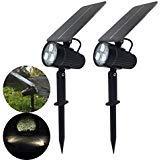 Solar Spotlight, MII 2-in-1 Waterproof Solar Outdoor Landscape Light 2 Power Modes Auto ON/Off...