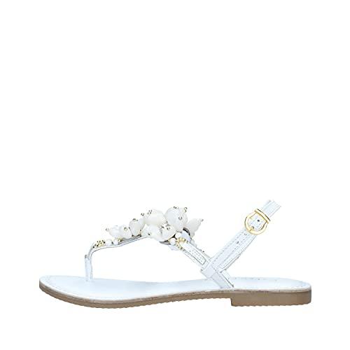 Sandali infradito gioiello in pelle con fiori Bianco 38