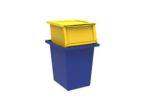 TERRY Ecobin 25+30 Set 2 Contenitori per Il Riciclaggio dei Rifiuti. Colore: Giallo e Blu, Materiale: Polipropilene Antiurto, capacit 25 L + 30 L