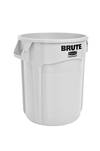 Rubbermaid Commercial Products FG262000WHT BRUTE Heavy-Duty Round Trash/Garbage Can, 20-Gallon, White