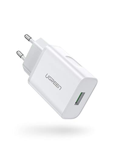 UGREEN Caricatore USB Quick Charge 3.0 Caricabatterie USB Carica Rapida 18W 5V 3A con Tecnologia FCP Compatible with Smartphone Samsung iPhone Huawei Xiaomi LG Sony, Tablet, AirPods, Cuffie Wireless
