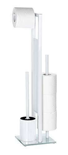 WENKO Stand WC-Garnitur Rivalta, mit integriertem Toilettenpapierhalter und WC-Bürstenhalter, Weiß matt, Maße: 18 x 19 x 69 cm