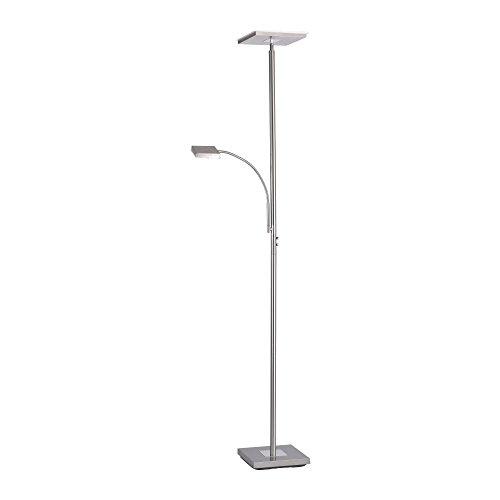 LeuchtenDirekt, LED Stehleuchte mit Leselampe, dimmbar mit Touchdimmer, Standlampe, schwenkbar, warmweiss, 3000 Kelvin, Stahl, IP20