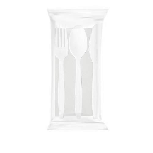 VIRSUS Set Posate biodegradabili e compostabili Tris forchetta Coltello Cucchiaio tovagliolo 2 veli in CPLA biocellutex stoviglie bio Eco Friendly Varie quantit (100)