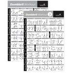 VOL 1+2 DUMBBELL EXERCISE POSTER 2-PACK LAMINATED - Workout Strength Training Chart - Build Muscle Tone, Tighten - Home Gym Weight Lifting - Body Building Guide w/ Free Weights & Resistance - 20'x30'