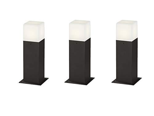 LED Außenstandleuchte 3er Set Sockelleuchte in Anthrazit Höhe 30cm - vielfältige Außenbeleuchtung für Haus und Garten