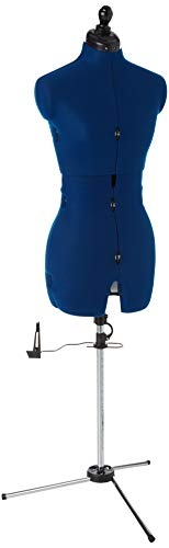 """Dritz 20405 My Double Deluxe Dressform with Tri-Pod Stand Adjustable Up to 70"""" Shoulder Height, Small, Blue Sapphire"""