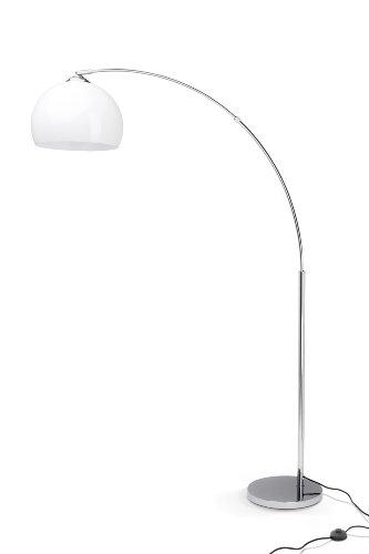 Brilliant Vessa Bogenstandleuchte 1,7m Bogenleuchte chrom/weiß Neo Retro, 1x E27 geeignet für Normallampen bis max. 60W